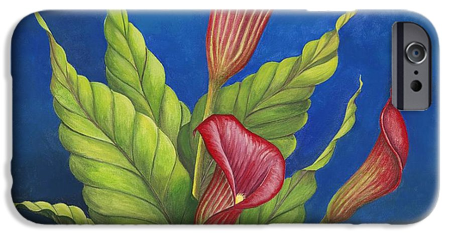 Red Calla Lillies On Blue Background IPhone 6 Case featuring the painting Red Calla Lillies by Carol Sabo