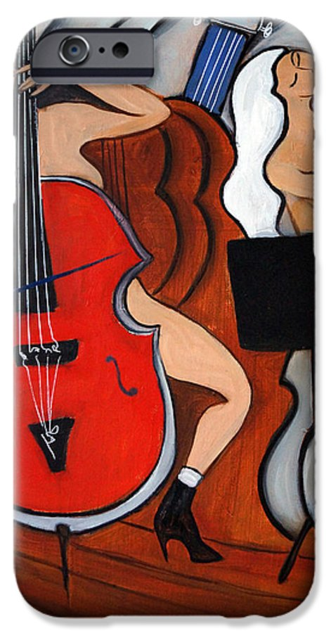 Cubic Abstract IPhone 6 Case featuring the painting Red Cello 2 by Valerie Vescovi