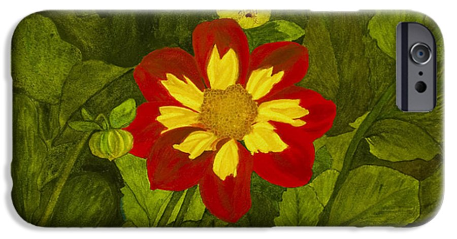 Red IPhone 6 Case featuring the painting Red Dahlia by Louise Magno
