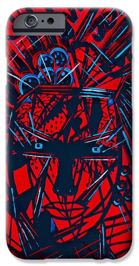 Abstract IPhone 6 Case featuring the painting Red Exotica by Natalie Holland