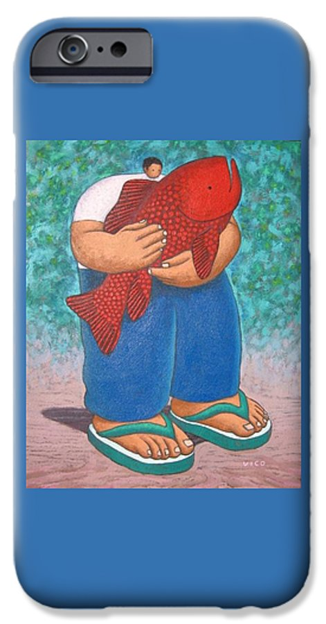 Acrylic IPhone 6 Case featuring the painting Red Fish And Blue Trousers. by Vico Vico
