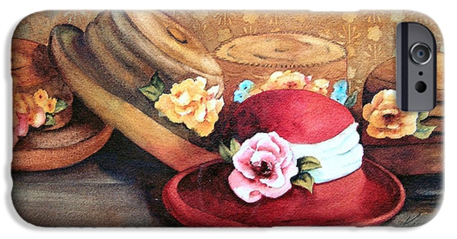 Hat IPhone 6 Case featuring the painting Red Hat by Karen Stark