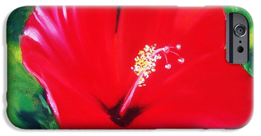 Bright Flower IPhone 6 Case featuring the painting Red Hibiscus by Melinda Etzold