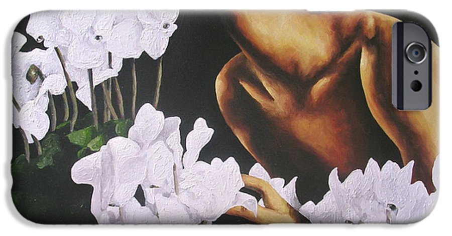 Nude IPhone 6 Case featuring the painting Red Lips White Flowers by Trisha Lambi