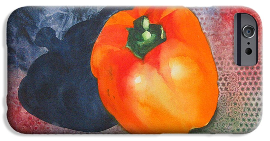 Pepper IPhone 6 Case featuring the painting Red Pepper Solo by Jean Blackmer