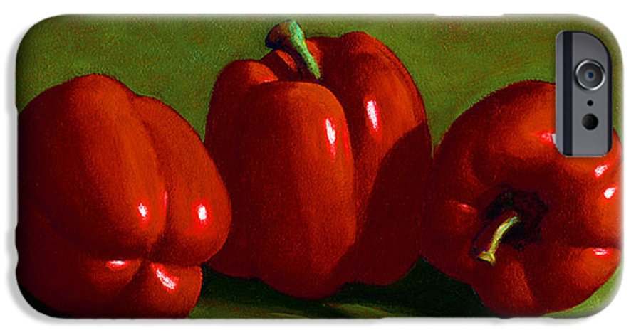 Red Peppers IPhone 6 Case featuring the painting Red Peppers by Frank Wilson