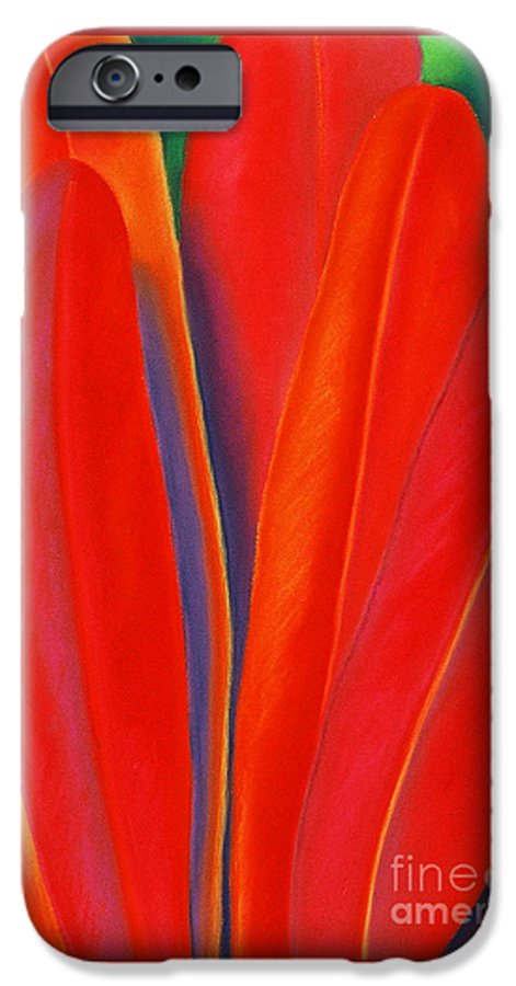 Red IPhone 6 Case featuring the painting Red Petals by Lucy Arnold