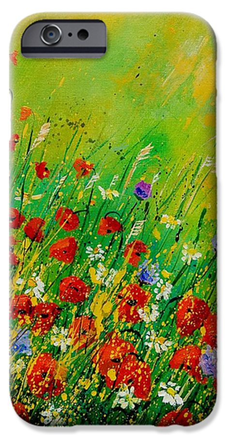 Flowers IPhone 6 Case featuring the painting Red Poppies 450708 by Pol Ledent