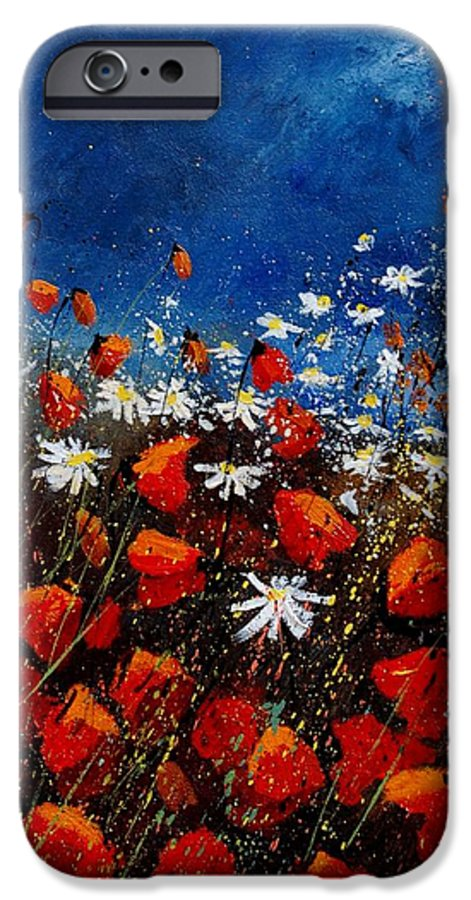 Flowers IPhone 6 Case featuring the painting Red Poppies 451108 by Pol Ledent