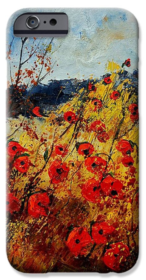 Poppies IPhone 6 Case featuring the painting Red Poppies In Provence by Pol Ledent
