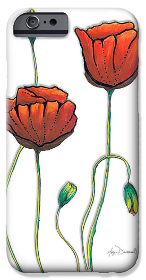 Poppy IPhone 6 Case featuring the painting Red Poppies Painting Contemporary Unique PoP Art Style Poppy by Megan Duncanson by Megan Duncanson