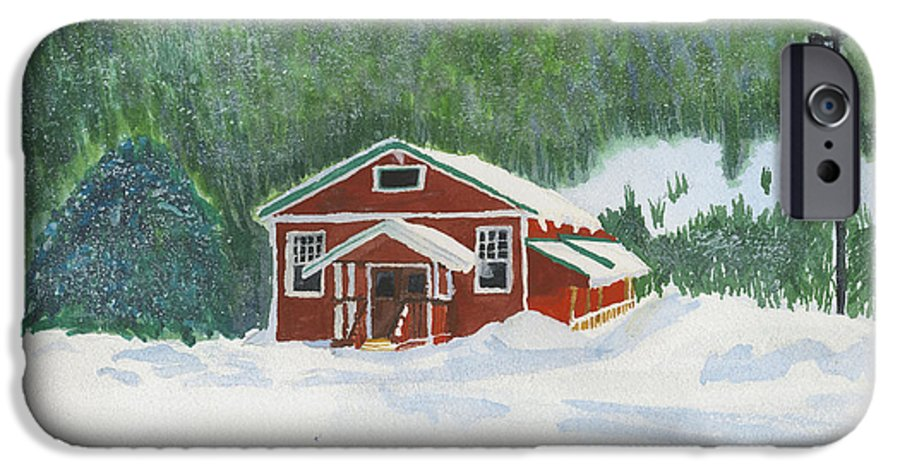 Schoolhouse IPhone 6 Case featuring the painting Red School House by Louise Magno