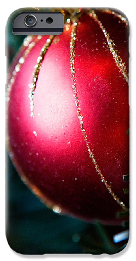 Red IPhone 6 Case featuring the photograph Red Shiny Ornament by Marilyn Hunt