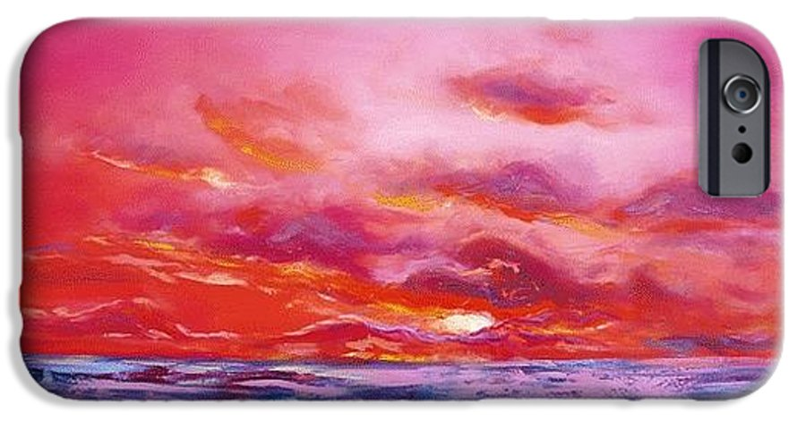 Red IPhone 6 Case featuring the painting Red Sunset by Gina De Gorna