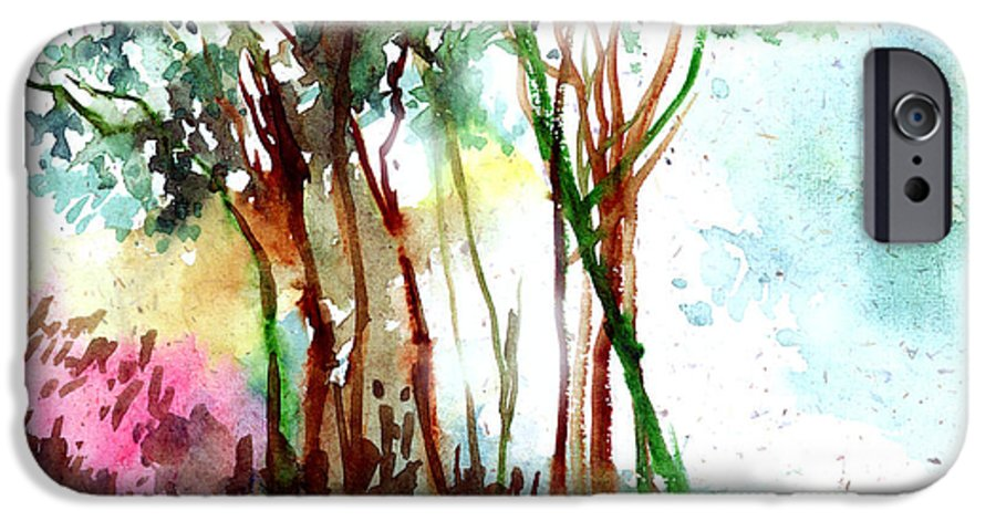 Landscape IPhone 6 Case featuring the painting Red Trees by Anil Nene