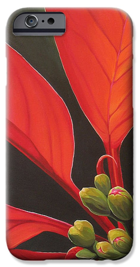 Poinsettia Closeup IPhone 6 Case featuring the painting Red Velvet by Hunter Jay