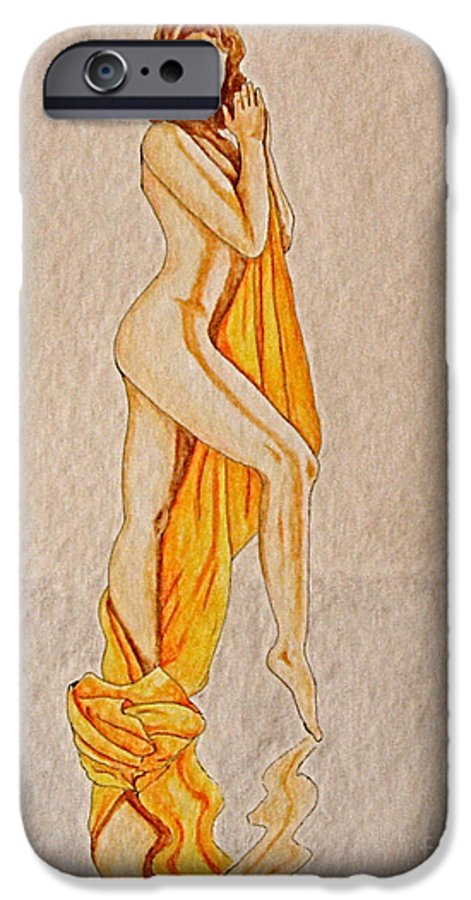 Nude IPhone 6 Case featuring the painting Reflection by Herschel Fall