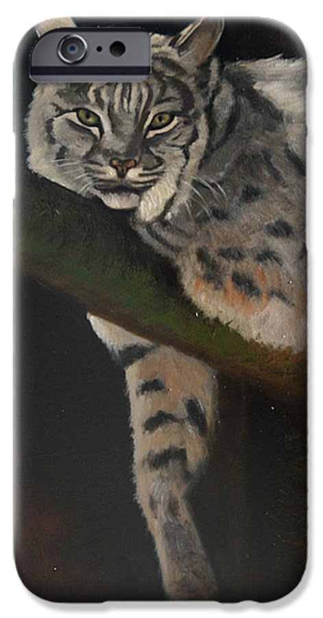 Bobcat IPhone 6 Case featuring the painting Resting Up High by Greg Neal