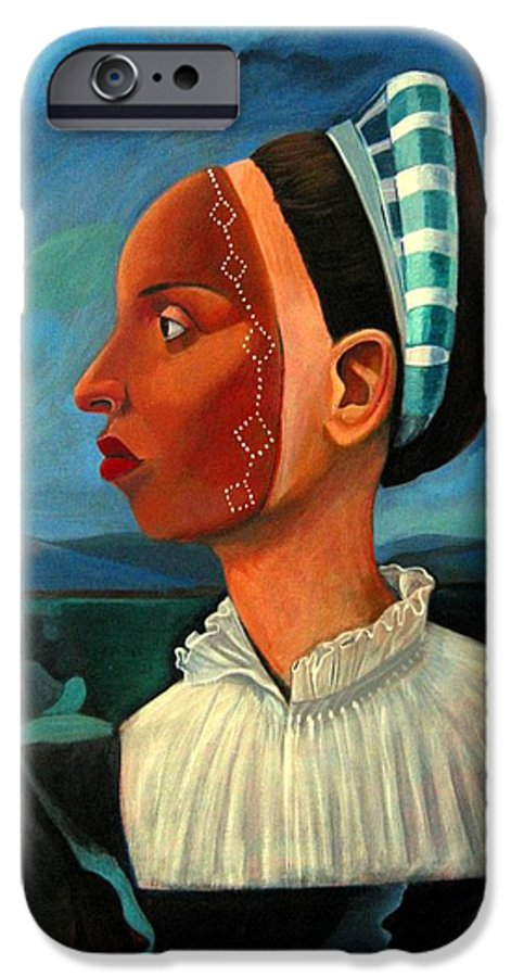 Woman IPhone 6 Case featuring the painting Revealed Truths And Myths IIi by Joyce Owens