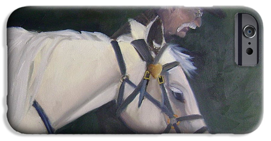 Old Man Horse... IPhone 6 Case featuring the painting revised- Man's Best Friend by Toni Berry