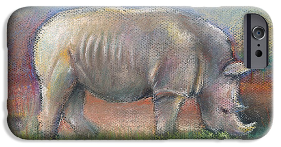 Rhino IPhone 6 Case featuring the pastel Rhino by Arline Wagner