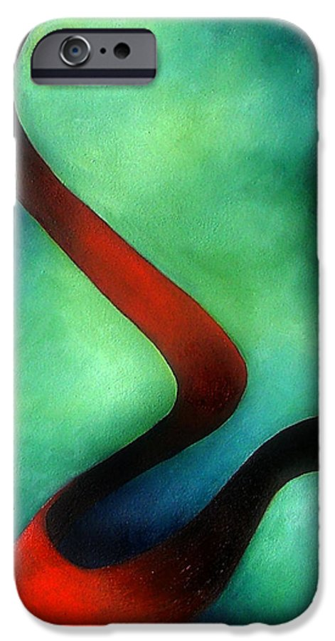 Red IPhone 6 Case featuring the painting Ribbon Of Time by Elizabeth Lisy Figueroa