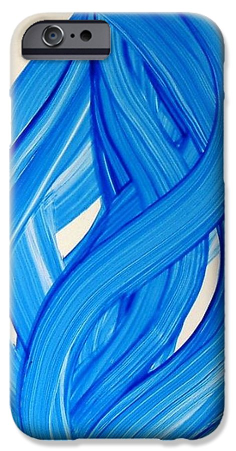 Abstract Modern Contemporary Yupo Art Painting Romantic Pop Blue IPhone 6 Case featuring the painting Ribbons Of Love-blue by Manjiri Kanvinde