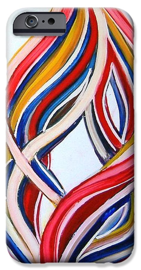 Abstract Modern Contemporary Pop Romantic Love Colourful Red Yellow Blue White IPhone 6 Case featuring the painting Ribbons Of Love-multicolour by Manjiri Kanvinde