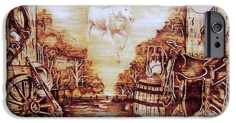Western IPhone 6 Case featuring the pyrography Riders In The Sky by Danette Smith