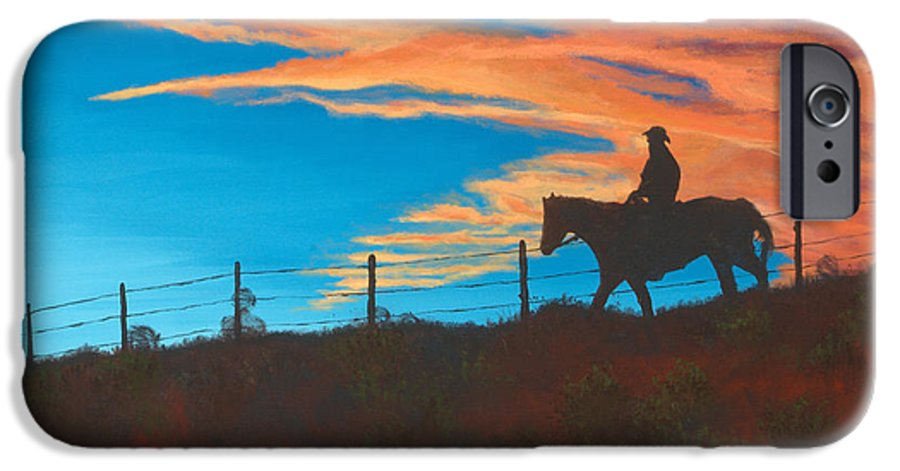 Cowboy IPhone 6 Case featuring the painting Riding Fence by Jerry McElroy