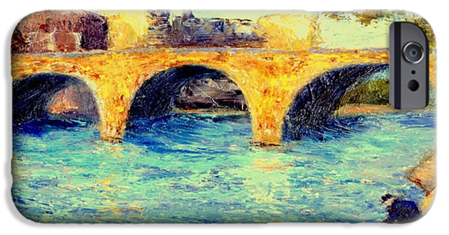 Impressionism IPhone 6 Case featuring the painting River Seine Bridge by Gail Kirtz