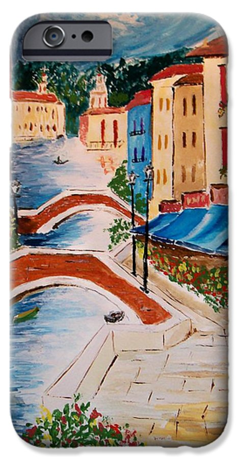 Canal IPhone 6 Case featuring the painting Riverwalk by Leo Gordon
