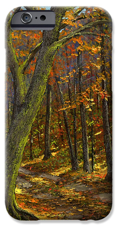 Landscape IPhone 6 Case featuring the painting Road In The Woods by Frank Wilson