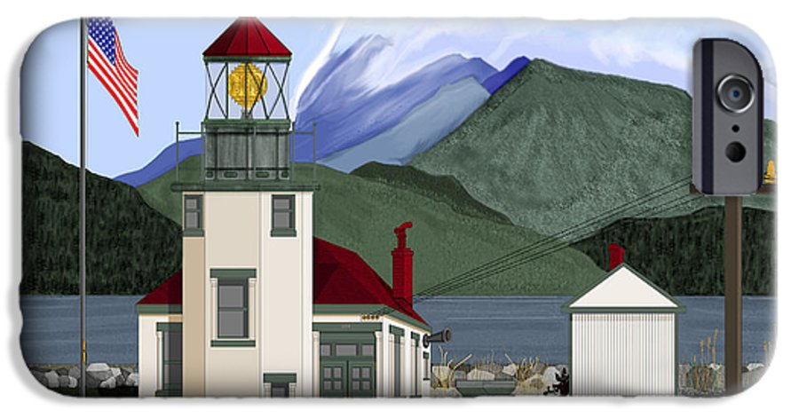 Point Robinson Lighthouse IPhone 6 Case featuring the painting Robinson Point With Mount Rainier by Anne Norskog