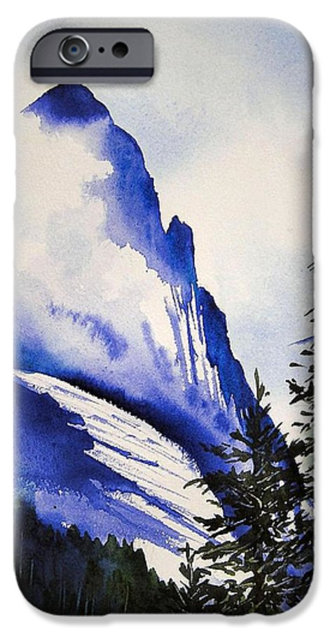 Rocky Mountains IPhone 6 Case featuring the painting Rocky Mountain High by Karen Stark