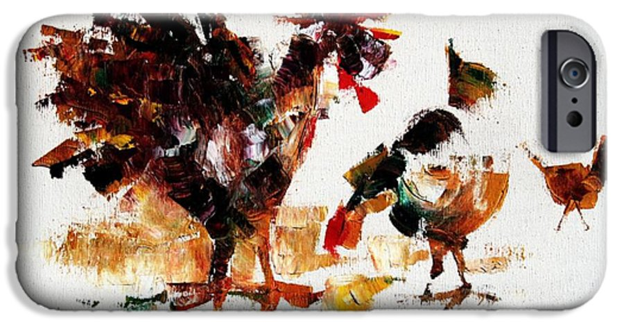 Rooster IPhone 6 Case featuring the painting Rooster by Mario Zampedroni