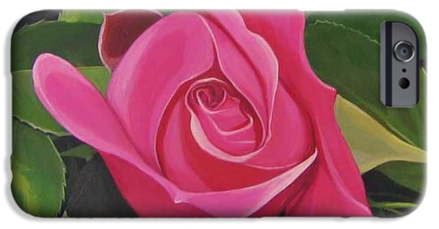 Pink Rose IPhone 6 Case featuring the painting Rose Arcana by Hunter Jay