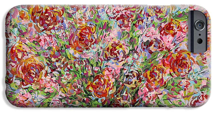 Flowers IPhone 6 Case featuring the painting Rose Bouquet In Glass Vase by Leonard Holland