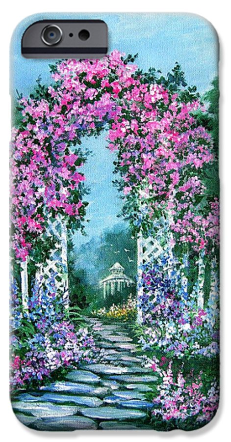 Roses;floral;garden;picket Fence;arch;trellis;garden Walk;flower Garden; IPhone 6 Case featuring the painting Rose-covered Trellis by Lois Mountz