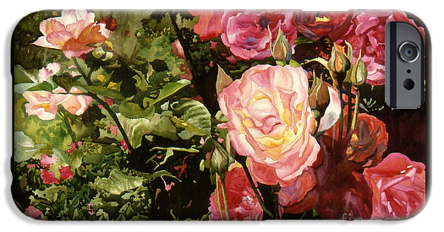 Watercolor IPhone 6 Case featuring the painting Rose Garden by Teri Starkweather