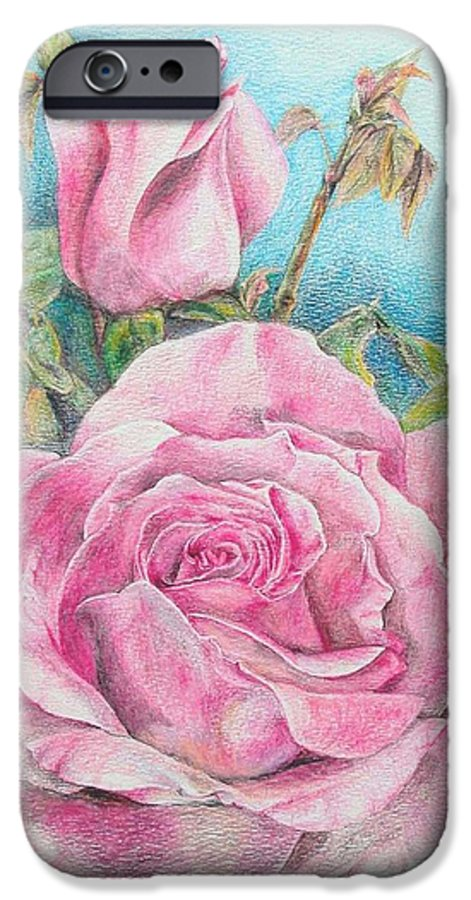 Flower IPhone 6 Case featuring the painting Rose by Muriel Dolemieux