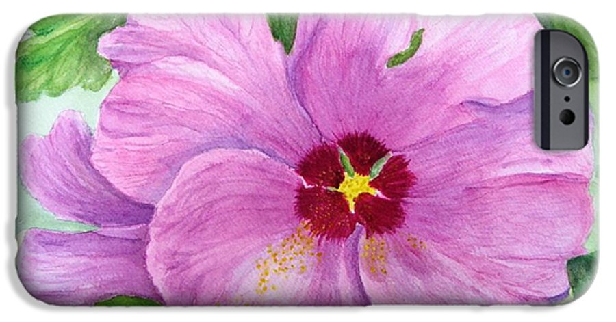 Watercolour IPhone 6 Case featuring the painting Rose Of Sharon by Peggy King