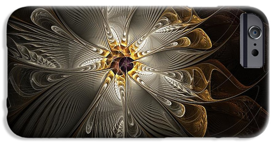 Digital Art IPhone 6 Case featuring the digital art Rosette In Gold And Silver by Amanda Moore