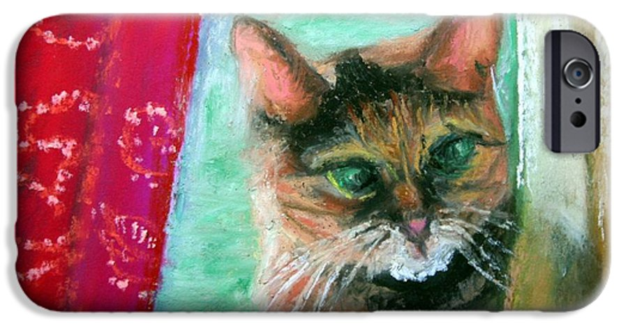 Cat IPhone 6 Case featuring the painting Rosy In Color by Minaz Jantz