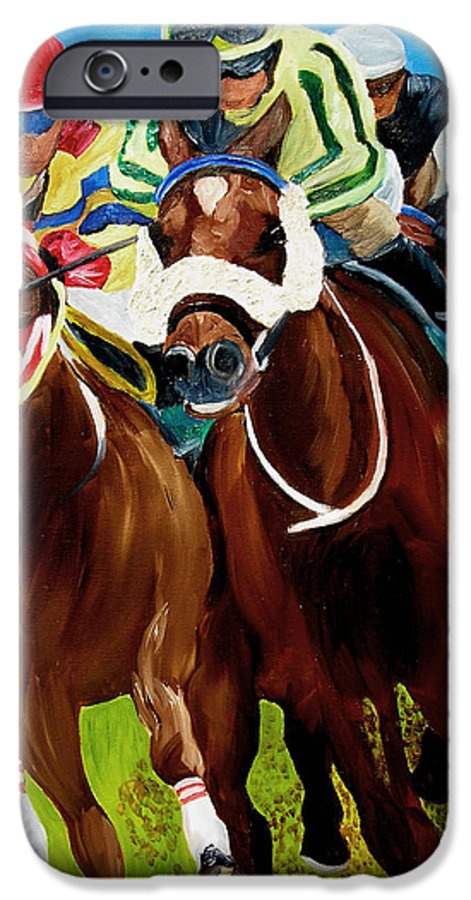 Horse Racing IPhone 6 Case featuring the painting Rounding The Bend by Michael Lee