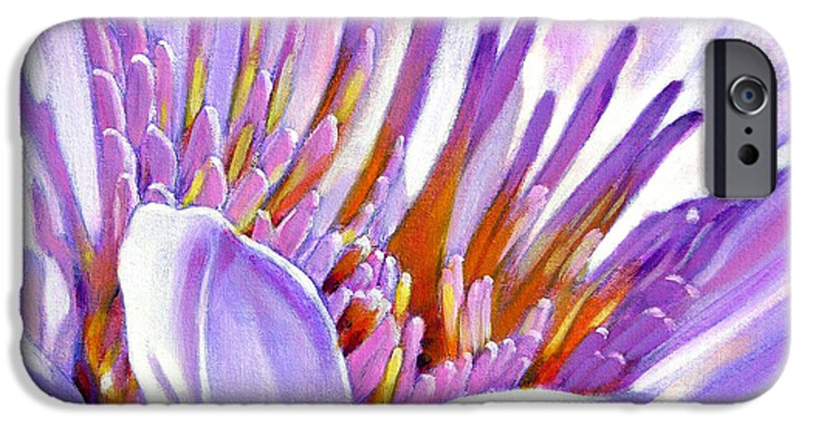 Water Lily IPhone 6 Case featuring the painting Royal Purple And Gold by John Lautermilch