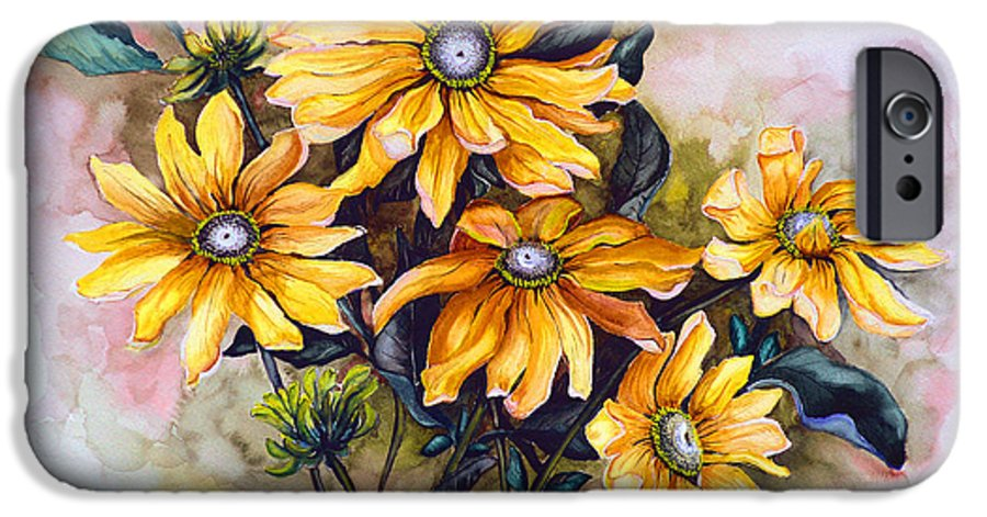 Flower Painting Sun Flower Painting Flower Botanical Painting  Original Watercolor Painting Rudebeckia Painting Floral Painting Yellow Painting Greeting Card Painting IPhone 6 Case featuring the painting Rudbeckia Prairie Sun by Karin Dawn Kelshall- Best