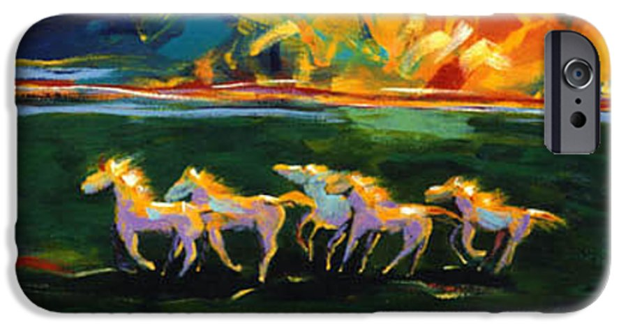 Abstract Horse IPhone 6 Case featuring the painting Run From The Sun by Lance Headlee
