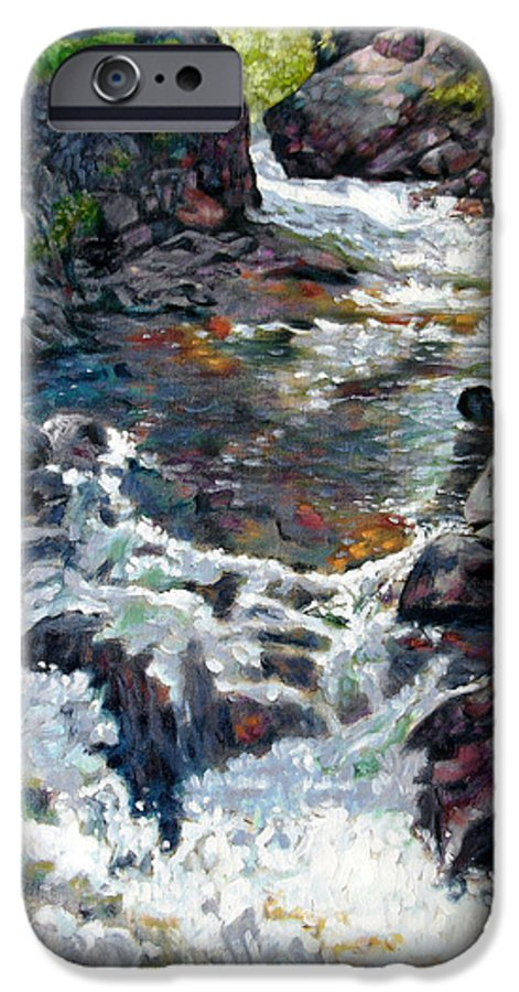 A Fast Moving Stream In Colorado Rocky Mountains IPhone 6 Case featuring the painting Rushing Waters by John Lautermilch