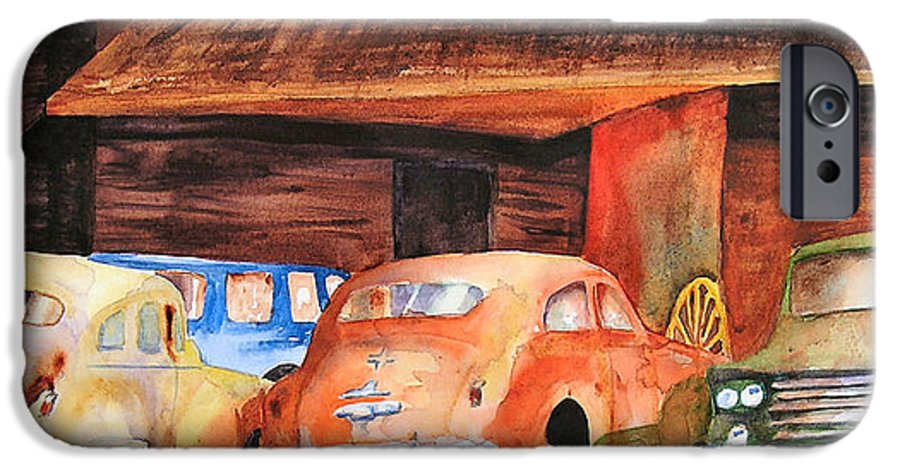Car IPhone 6 Case featuring the painting Rusting by Karen Stark